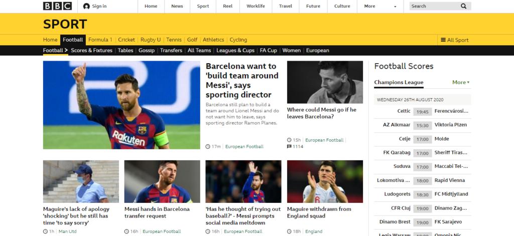 bbc football site