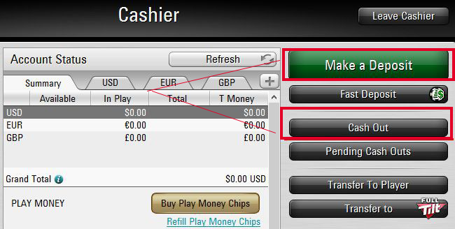 Deposits and Withdrawals pokerstars
