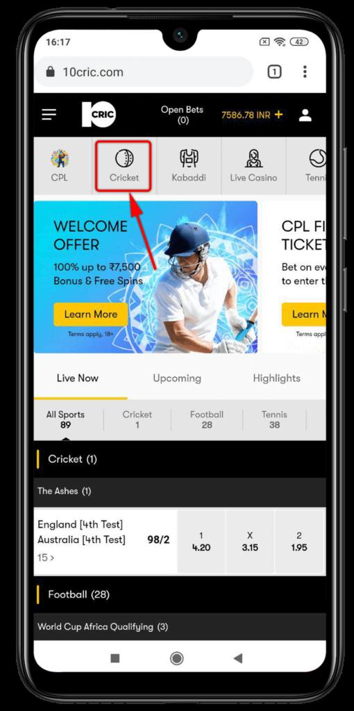 10CRIC cricket betting